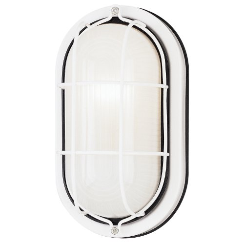 Westinghouse 6783500 One-Light Exterior Wall Fixture, White Finish on Steel with White Glass (1 Light Bulkhead)