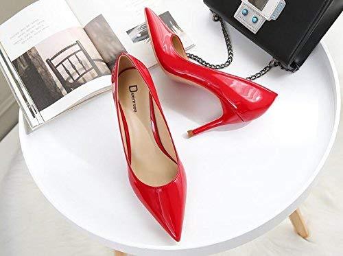 Gericht Schuhe Einzelne Schuhe weibliche frische High Heels Frau zeigte fein mit Brautschuhe Hochzeit Schuhe weiblich (Farbe   38, Größe   Big rot 6CM)