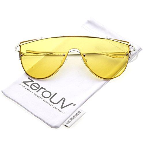 zeroUV - Futuristic Rimless Metal Crossbar Colored Mono Lens Shield Sunglasses 62mm (Silver / - Futuristic Zerouv