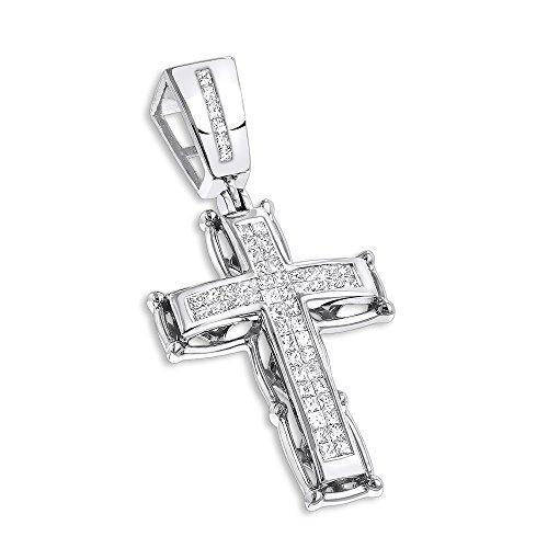 (Luxurman 14K Mens Cross Pendant Princess Cut Natural 1 Ctw Diamonds For Him (White Gold))