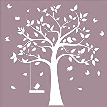 White Tree Wall Decals Butterfly Wall Stickers for Girls Bedroom Wall Decor