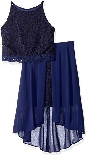 Amy Byer Girls' Big 2-Piece Party Dress Set, sea Navy, ()