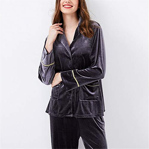 Cálido Pijamas Moda Camisa Invierno Otoño Hogar Bedgown Señoras Servicio Leeqn Gray Traje Terciopelo Oro Z68Yw4