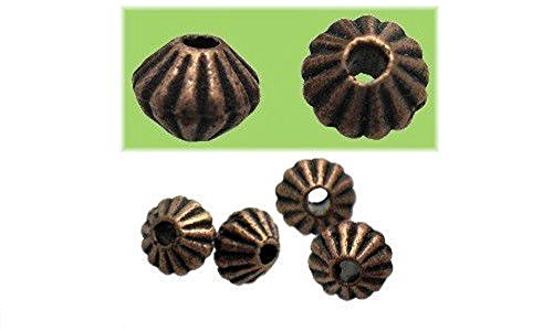 SPACER BEAD DOUBLE CONE CORRUGATED 5x4mm PEWTER 100 LOT (Antique Copper)