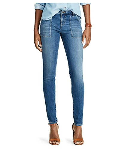 Chaps Womens Petite Super-Stretch Blue Denim Slimming Fit Jeans (Chaps Jeans For Women)