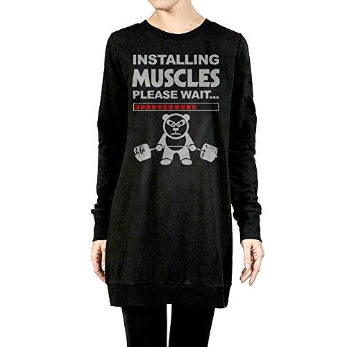 [Women Installing Muscles Please Wait Long Sleeve Shirt Sweater Longshirt X-Large] (Minions Movie Minion Hooded Tank Dress)
