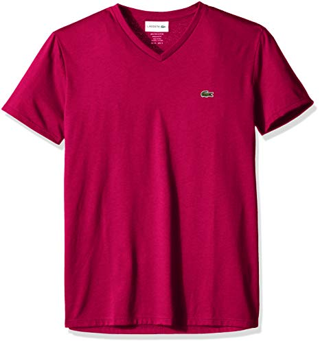 Lacoste Men's Short Sleeve V Neck Pima Jersey T-Shirt, TH6710, Persian red, 4X-Large ()