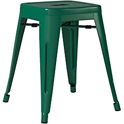 "POLY & BARK EM-195-DGRN-X4-A Trattoria 18"" Stool, Dark Green"