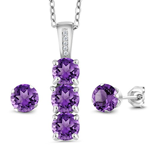 Amethyst Diamond Pendant Watch (2.29 Ct Purple Amethyst White Diamond 925 Sterling Silver Pendant Earrings Set)