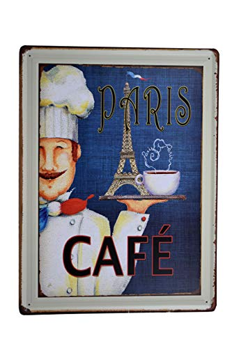 - K&H Paris Cafe Diner Retro Metal Tin Wall Sign Poster Wall Decor 12X16-Inch