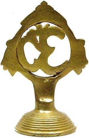 ヒンドゥーDivine Omシンボル真鍮StatueハンドメイドCollectable真鍮ホームインテリア