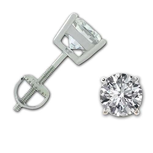 Girls Sterling Silver Round CZ Stud Earrings with Screw back