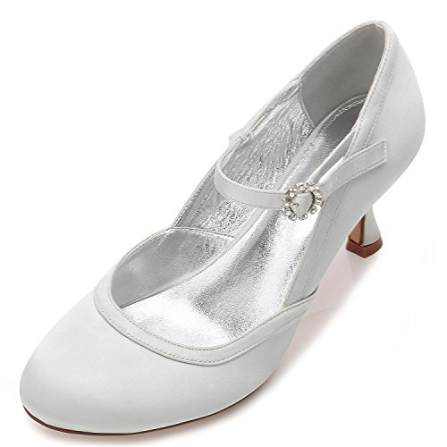 Tacones Boda yc L Plataforma Dedos Zapatos Mujeres Los 43 17061 Bow Altos Satén De Cerrado Hebillas Silver Flores Pies G Las H4dgqHzw