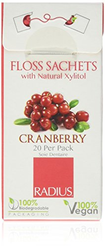 RADIUS Vegan and Biodegradable Floss Sachets with Natural Xylitol, Cranberry, 10 Count