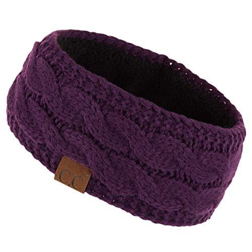 (CC Winter Fuzzy Fleece Lined Thick Knitted Headband Headwrap Earwarmer (Dk. Purple))