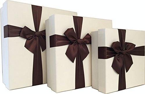 Cypress Lane Square Gift Boxes with Ribbon, 11 inches, a Nested Set of 3 (White) - Gift Box Large Square