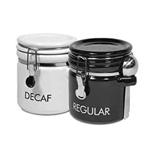 oggi kitchen canisters decaf and regular coffee ceramic canister set 14410
