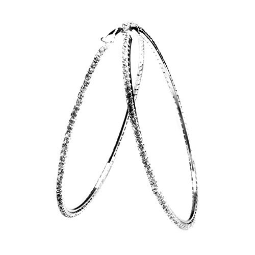 Shining Star Turkey - Glittering Bling 8CM Silver Plated 1Row Rhinestone Big Hoop Loop Earring Women Clear