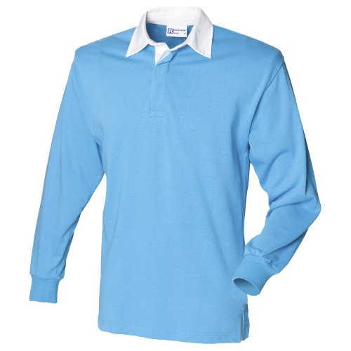 Front Row Long sleeve plain rugby shirt Surf Blue/White XL ()
