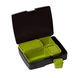 Laptop Lunches Bento-ware Bento Lunch Box with BPA-Free, Leak-proof Containers, Black/Avocado (L600-blkavo)