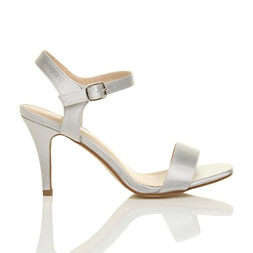 Sandals Silver There Size Women High Heel Barely Satin Ajvani Shoes x1qRXFxn
