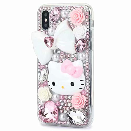 iPhone Xs Max Diamond Case,iPhone Xs Max Crystal Rhinestone Case,Luxurious Shining Girls Soft Rubber Bumper Sparking Bling Glitter Floral Bow Cartoon Cat Cover for iPhone Xs Max - Bling Kitty Hello Case