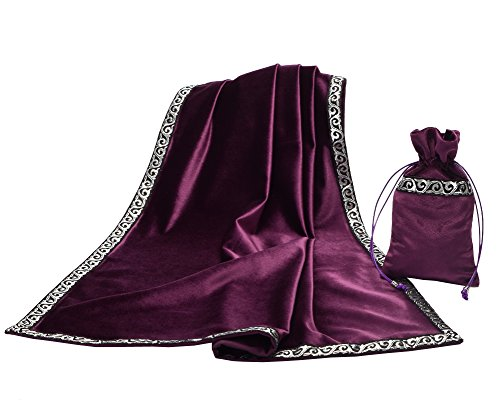 (BLESSUME Altar Tarot Table Cloth Divination Wicca Velvet Cloth with Tarot Pouch Purple)