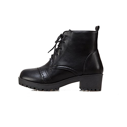 Shoes Heeled Leather Shoes Warm Womens Closed A Black Walking Smooth Up Low Lace amp;N Top Urethane Bootie Strap DKU01692 Toe Walking Adjustable Lining ARq6qxwvt
