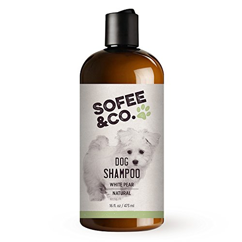 Natural Moisturizing Dog Shampoo, White Pear - Soothe dry, itchy, allergy sensitive skin. Deodorizing, anti- itch. For all dogs, puppies, hypoallergenic breeds. By Sofee & Co. 16 oz.