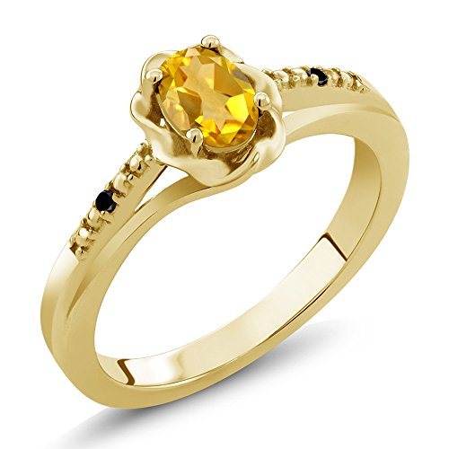 Gem Stone King 0.41 Ct Oval Yellow Citrine Black Diamond 18K Yellow Gold Plated Silver Ring (Size 9) ()