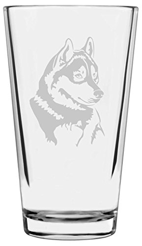 Husky Dog Themed Etched All Purpose 16oz Libbey Pint Glass ()