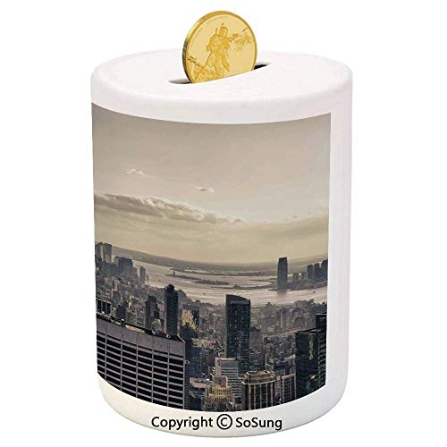 NYC Decor Ceramic Piggy Bank,Aerial View of NYC in Winter Time American Architecture Historical Popular Metropolis Photo 3D Printed Ceramic Coin Bank Money Box for Kids & Adults,Beige ()