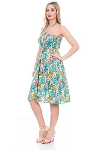 Vestido Veraniego Foral de Dama 3 en 1 de algodón Pistachio Tropical Azul