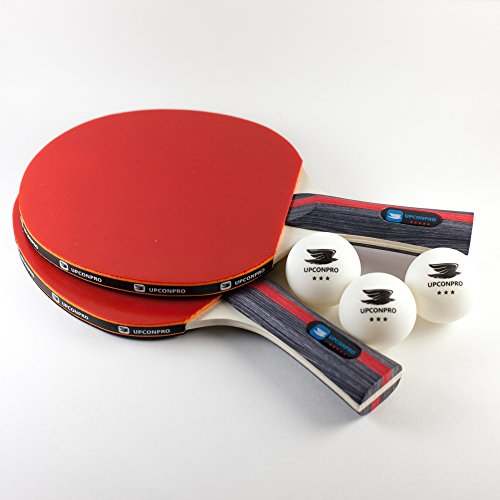 UPCONPRO Premium 5 Star Ping Pong Racket Kit – Set of 2 Professional Table Tennis Paddles with 3 Star Balls and Carry Case – 100% Guarantee by UPCONPRO