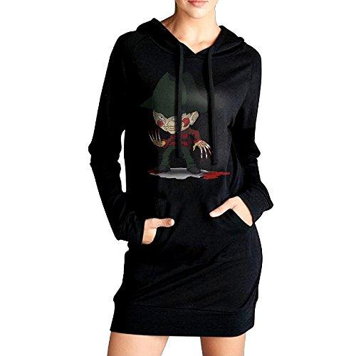 [Hiro Women Nightmare On Elm Street Freddy Krueger Pizza Sweatshirt Dress Pockets Tunic Top L Black] (Women Freddy Krueger Costumes)
