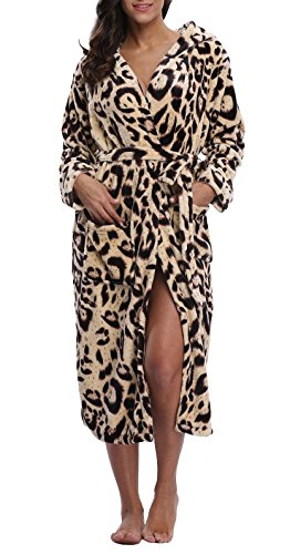 Coser Paradise Women's Hooded Bathrobe Plush Robe With Animal Print Leopard -