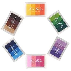 Craft Colorido Ink Pad para Madera Papel Tela para sellos de goma (Set of Full 6 Colours)