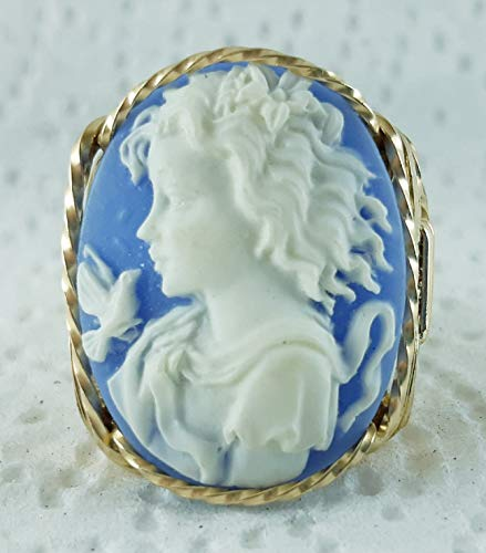 Fine Lady with Dove Blue Large Cameo .925 Sterling Silver Ring or 14k Gold gf Art Jewelry HGJ