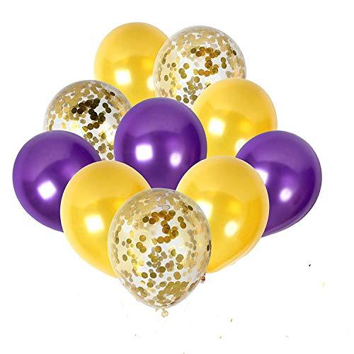 PASOCON Gold Confetti Balloons & Purple Latex Balloons 50pcs Premium 12 Inch Latex Balloons for Baby Bridal Shower Birthday Party Decorations -