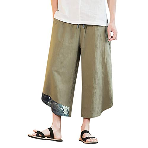 ANJUNIE Men's Big Leg Pants Baggy Harem Pants Sports Calf-Length Linen Comfy Trousers (Green,L)
