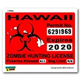 Graphics and More Hawaii HI Zombie Hunting License Permit Red - Biohazard Response Team - Window Bumper Locker Sticker