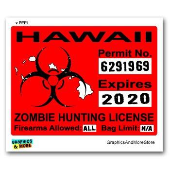 Graphics and More Hawaii HI Zombie Hunting License Permit Red - Biohazard Response Team - Window Bumper Locker Sticker