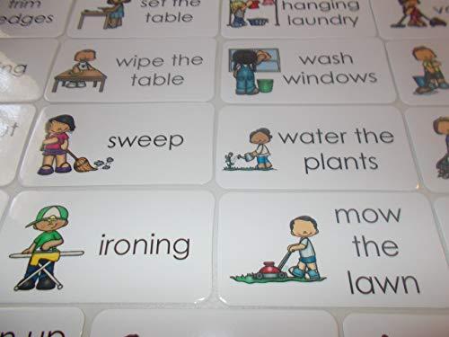 23 Laminated Helping At Home Chores Flashcards.