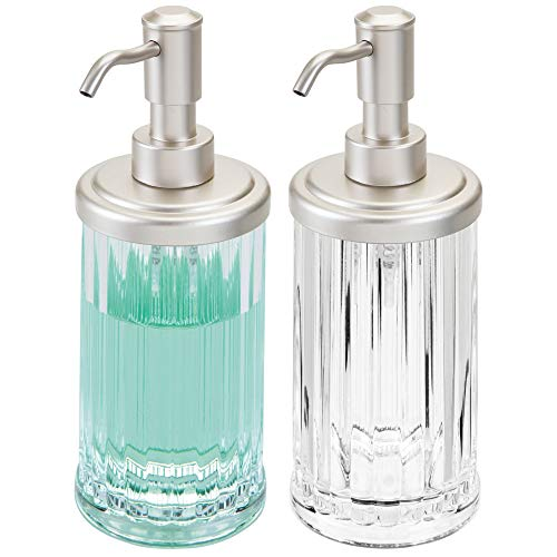 mDesign Fluted Plastic Refillable Liquid Soap Dispenser Pump Bottle for Bathroom Vanity Countertops or Kitchen Sink: Holds Hand Sanitizer & Essential Oils, 2 Pack - Clear/Satin