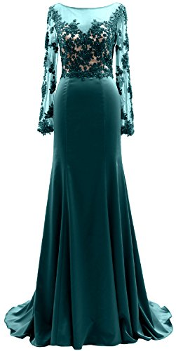 Illusion the Evening Teal MACloth Mother of Sleeves Women Lace Bride Dress Long Gown qBxngtwOxY