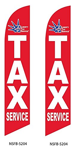Liberty Tax Service Red Two (2) Swooper Feather Flag Kits With Pole And Ground Spike