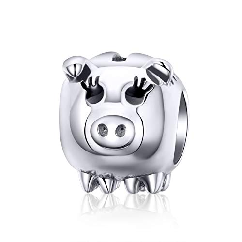 (2019 New 925 Sterling Silver Pig Charms Lucky Piggy Beads fit for Charms Bracelets DIY Jewelry Making)