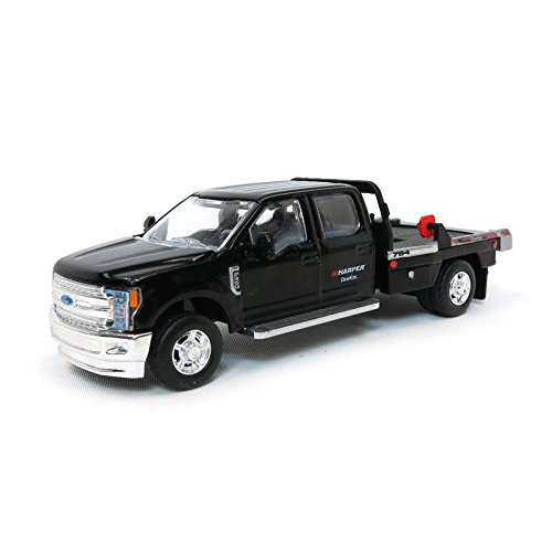1/64 2018 Ford F-350 Dually, Black, Deweze Pivot Squeeze Bale Bed