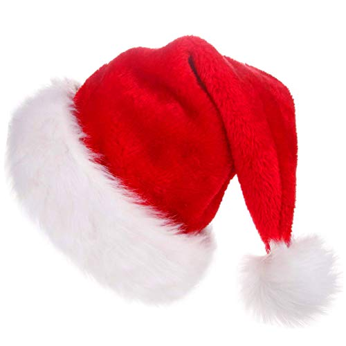 CUSFULL Soft Plush Santa Hat Classic Christmas Santa Claus Cap for Most Adults- One Size (1 -