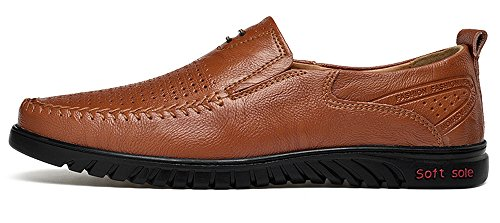 Driving Leather Moccasin Casual hole58 Men's Loafers Sanyge R Shoes on Slip Shoes brown TUx60